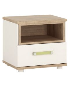 4KIDS 1 drawer bedside cabinet in light oak and white high gloss with lemon handles