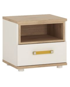 4 Kids 1 Drawer Bedside Cabinet in Light Oak & White High Gloss