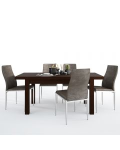 Dining Set Package Pello Extending Dining Table In Dark Mahogany + 4 Milan High Back Chair Dark Brown