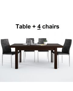Dining Set Package Pello Extending Dining Table In Dark Mahogany + 4 Milan High Back Chair Black