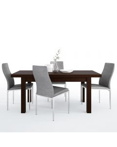 Dining Set Package Pello Extending Dining Table In Dark Mahogany + 4 Milan High Back Chair Grey
