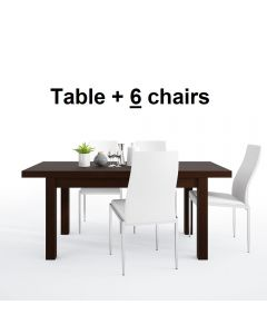 Dining Set Package Pello Extending Dining Table In Dark Mahogany + 6 Milan High Back Chair White