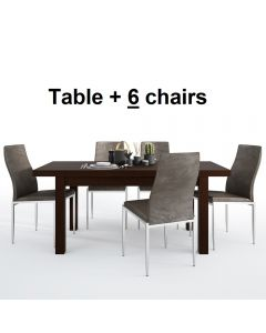 Dining Set Package Pello Extending Dining Table In Dark Mahogany + 6 Milan High Back Chair Dark Brown
