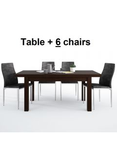Dining Set Package Pello Extending Dining Table In Dark Mahogany + 6 Milan High Back Chair Black