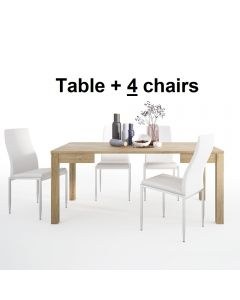 Dining Set Package Shetland Extending Dining Table + 4 Milan High Back Chair White.