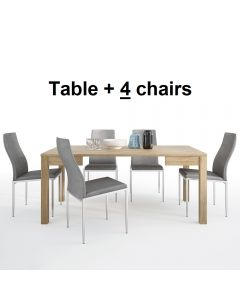 Dining Set Package Shetland Extending Dining Table + 4 Milan High Back Chair Grey.