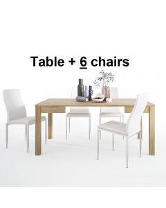 Dining Set Package Shetland Extending Dining Table + 6 Milan High Back Chair White.