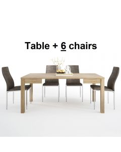 Dining Set Package Shetland Extending Dining Table + 6 Milan High Back Chair Dark Brown.