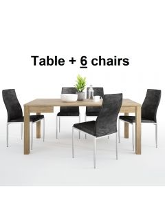 Dining Set Package Shetland Extending Dining Table + 6 Milan High Back Chair Black.