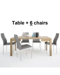 Dining Set Package Shetland Extending Dining Table + 6 Milan High Back Chair Grey.