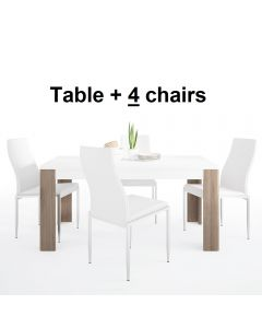 Dining Set Package Toronto 160 cm Dining Table + 4 Milan High Back Chair White