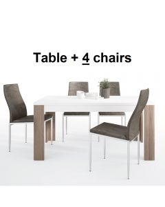 Dining Set Package Toronto 160 cm Dining Table + 4 Milan High Back Chair Dark Brown