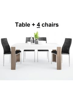 Dining Set Package Toronto 160 cm Dining Table + 4 Milan High Back Chair Black
