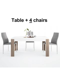 Dining Set Package Toronto 160 cm Dining Table + 4 Milan High Back Chair Grey