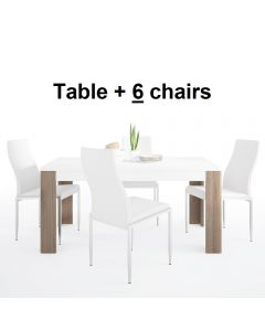 Dining Set Package Toronto 160 cm Dining Table + 6 Milan High Back Chair White