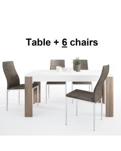 Dining Set Package Toronto 160 cm Dining Table + 6 Milan High Back Chair Dark Brown