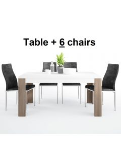 Dining Set Package Toronto 160 cm Dining Table + 6 Milan High Back Chair Black