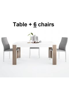 Dining Set Package Toronto 160 cm Dining Table + 6 Milan High Back Chair Grey