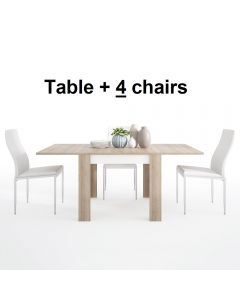 Dining Set Package Lyon Small Extending Dining Table 90/180cm + 4 Milan High Back Chair White.