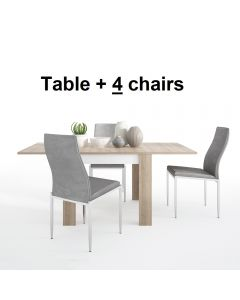 Dining Set Package Lyon Small Extending Dining Table 90/180cm + 4 Milan High Back Chair Grey.