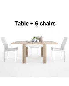 Dining Set Package Lyon Small Extending Dining Table 90/180cm + 6 Milan High Back Chair White.
