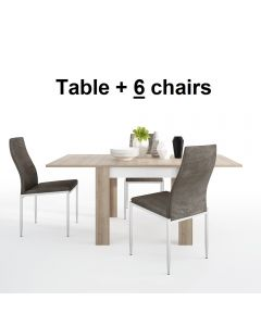 Dining Set Package Lyon Small Extending Dining Table 90/180cm + 6 Milan High Back Chair Dark Brown.
