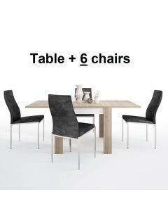 Dining Set Package Lyon Small Extending Dining Table 90/180cm + 6 Milan High Back Chair Black.