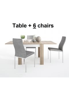 Dining Set Package Lyon Small Extending Dining Table 90/180cm + 6 Milan High Back Chair Grey.