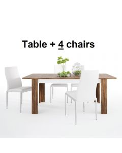 Dining Set Package Toledo Extending Dining Table + 4 Milan High Back Chair White