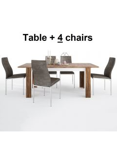 Dining Set Package Toledo Extending Dining Table + 4 Milan High Back Chair Dark Brown
