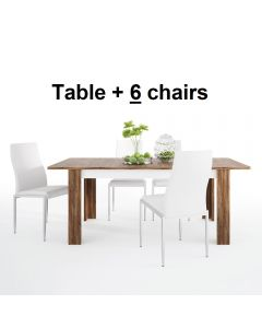 Dining Set Package Toledo Extending Dining Table + 6 Milan High Back Chair White