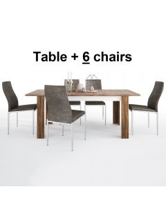 Dining Set Package Toledo Extending Dining Table + 6 Milan High Back Chair Dark Brown