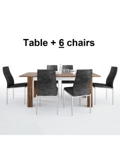 Dining Set Package Toledo Extending Dining Table + 6 Milan High Back Chair Black