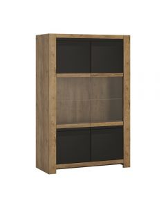 Havana 2 Door Display Cabinet In Dark Oak & Black