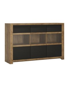 Havana 3 Door Sideboard In Dark Oak & Black