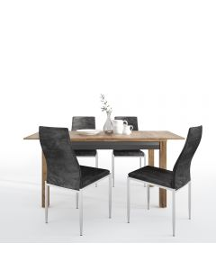 Dining Set Package Havana Extending Dining Table + 4 Milan High Back Chair Black.