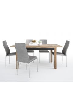 Dining Set Package Havana Extending Dining table + 4 Milan High Back Chair Grey.