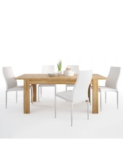 Dining Set Package Cortina Extending Dining Table In Grandson Oak + 4 Milan High Back Chair White.