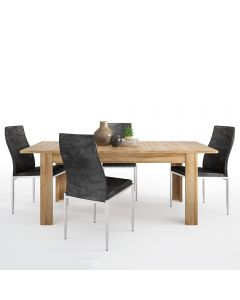 Dining Set Package Cortina Extending Dining Table In Grandson Oak + 4 Milan High Back Chair Black.