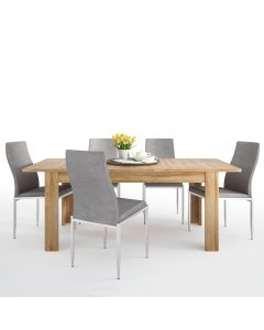 Dining Set Package Cortina Extending dining table in Grandson Oak + 4 Milan High Back Chair Grey.