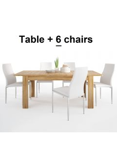 Dining Set Package Cortina Extending Dining Table In Grandson Oak + 6 Milan High Back Chair White.