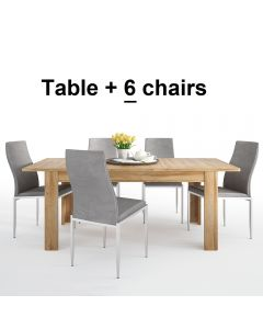 Dining Set Package Cortina Extending Dining Table In Grandson Oak + 6 Milan High Back Chair Grey.