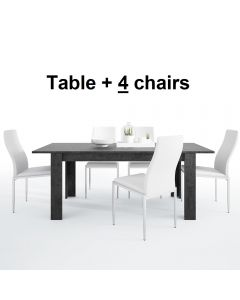 Dining Set Package Zingaro Dining table + 4 Milan High Back Chair White.