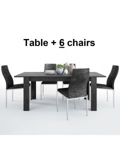Dining Set Package Zingaro Dining Table + 6 Milan High Back Chair Black.