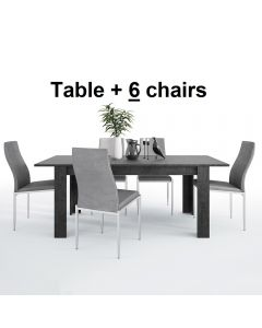 Dining Set Package Zingaro Dining Table + 6 Milan High Back Chair Grey.