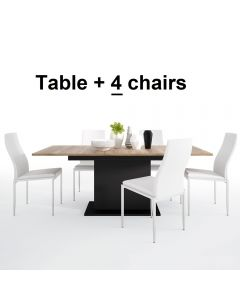 Dining Set Package Brolo Extending Dining Table + 4 Milan High Back Chair White.