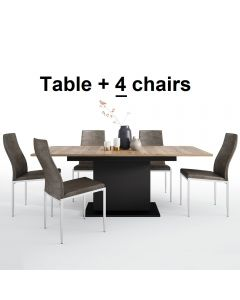 Dining Set Package Brolo Extending Dining Table + 4 Milan High Back Chair Dark Brown.
