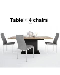 Dining Set Package Brolo Extending Dining Table + 4 Milan High Back Chair Grey.
