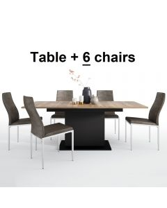 Dining Set Package Brolo Extending Dining Table + 6 Milan High Back Chair Dark Brown.