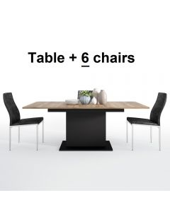 Dining Set Package Brolo Extending Dining Table + 6 Milan High Back Chair Black.